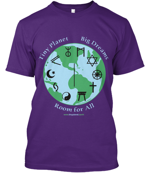 Original tee shirt design by Dorothea Mordan exclusively for Tiny Planet, Big Dreams, Room for All. © Dorothea Mordan, all rights reserved.