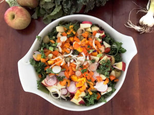 Salad with kale, chard, fresh lettuce, radishes, apples—all from the CSA