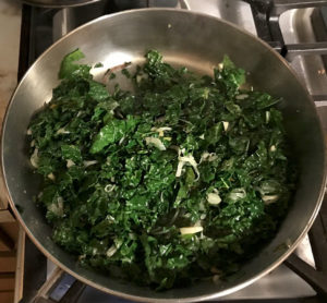 Stir fry base of greens—kale, spinach, chard, beets....