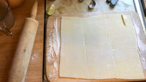 Rolled out puff pastry